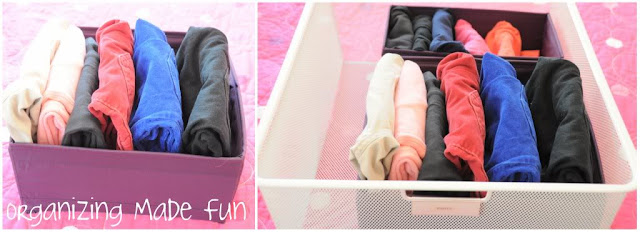 Kids pants drawer organization :: OrganizingMadeFun.com
