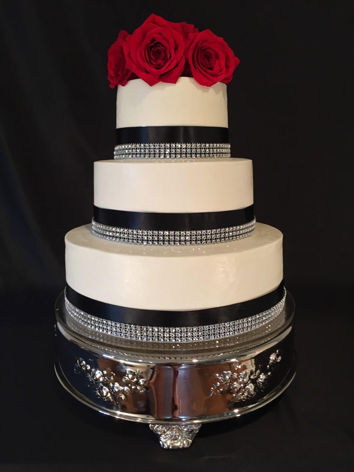 Black Ribbon Wedding Cake With Bling