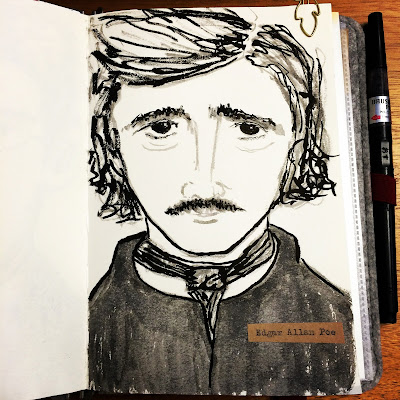 Edgar Allen Poe ink drawing