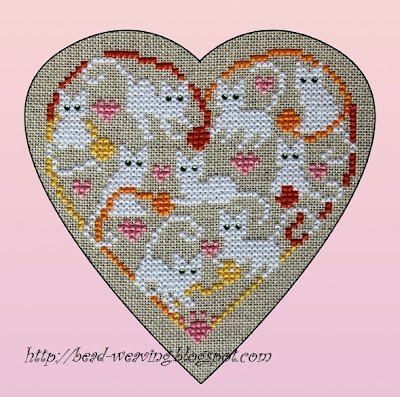 cross stitch, counted cross stitch, pattern, chart, hello kitty, cat, cats, 9 live, kittens, white, heart, love, loving, swarovski, crystals, meow, purr,free