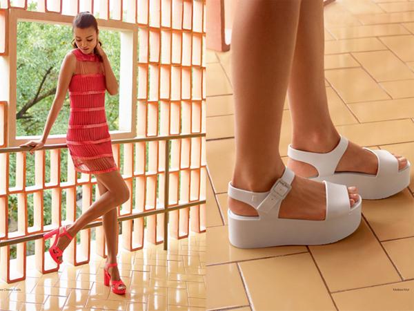 Melissa coleção Wanna Be Carioca sandália salto grosso e sandália em bloco reto verão 2016