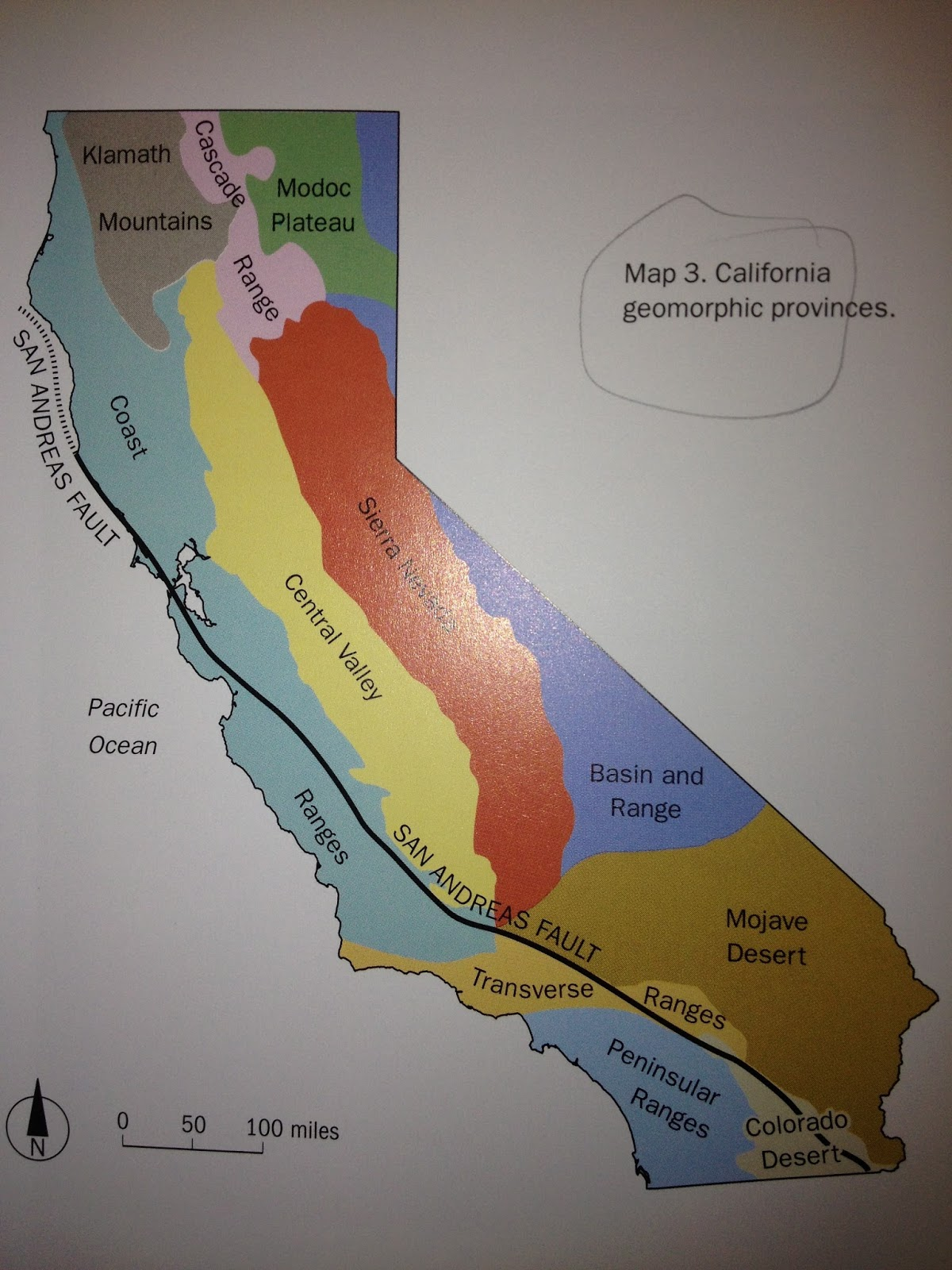 image 1 the color coded 11 physiographic provinces of california the san andreas fault passes exclusively through the coast ranges in northern ca