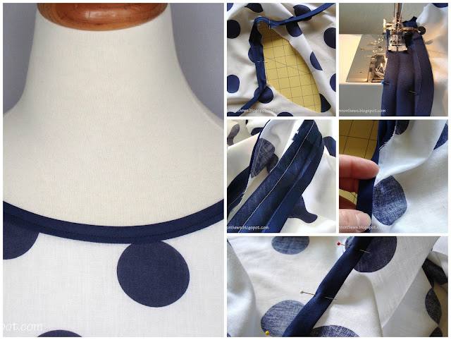 use bias binding tape to finish neckline and sleeves