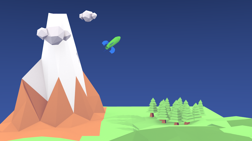 low poly mountain scene