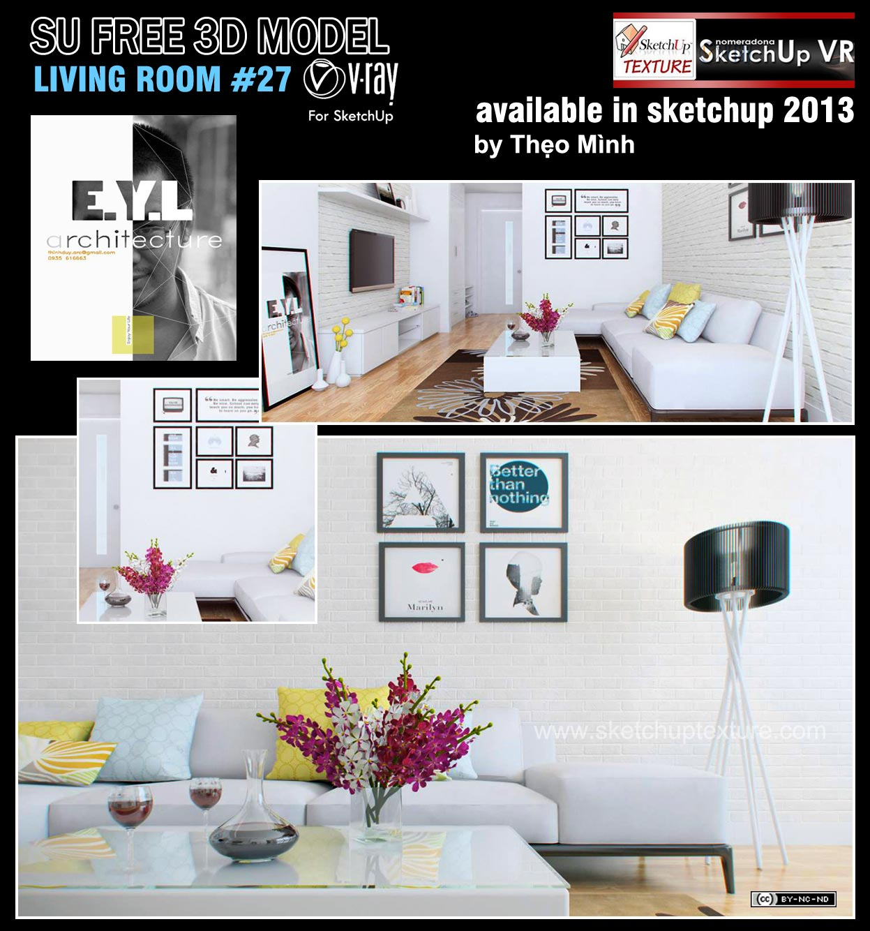 SKETCHUP TEXTURE: Free sketchup model moderne living room #27