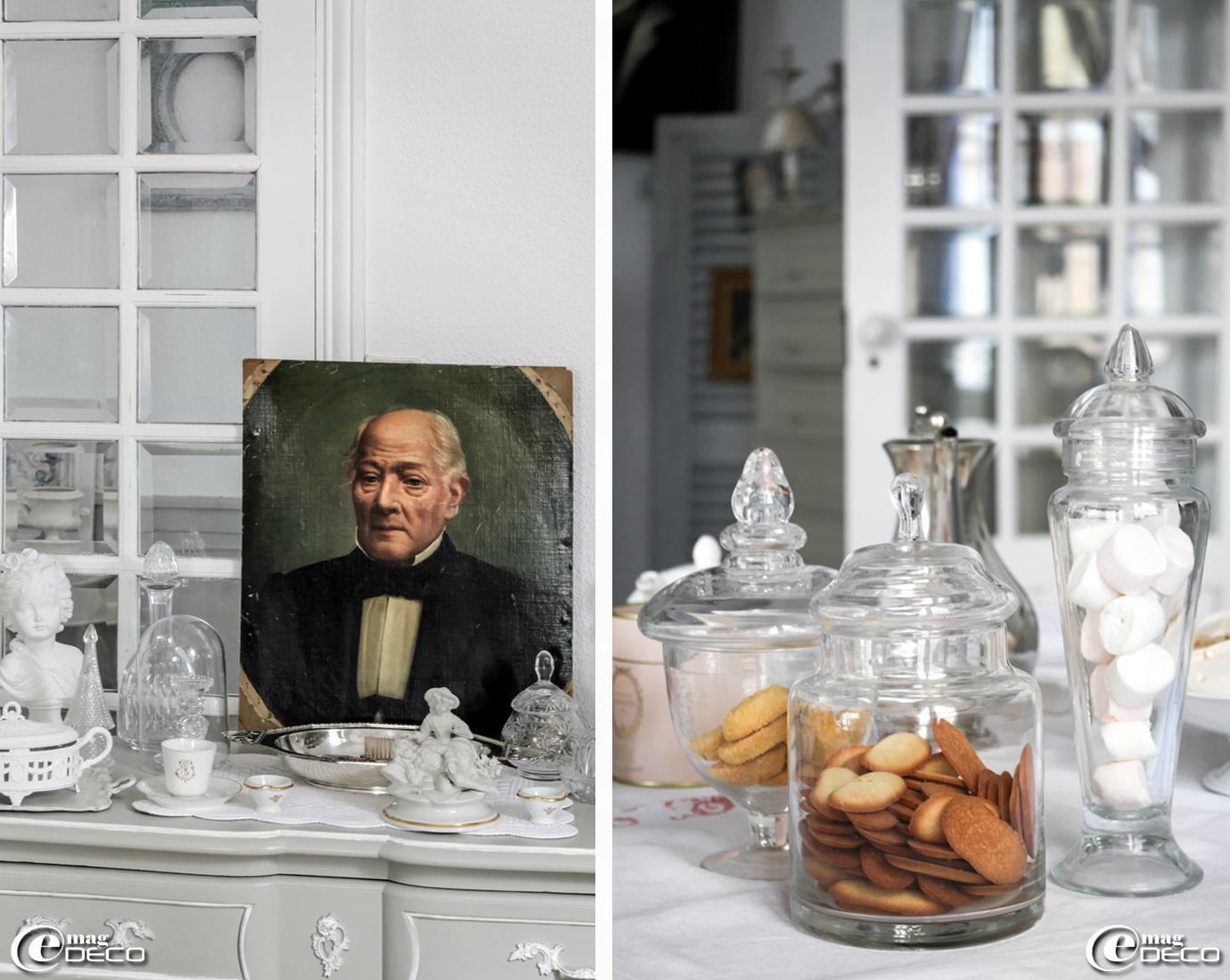 Naema de la boutique en ligne 'Sur un air Gustavien' met en scène dans son intérieur de vieux objets : portrait (huile sur toile) chiné à L'Isle-sur-la-Sorgue, vaisselle en porcelaine, verrerie et argenterie