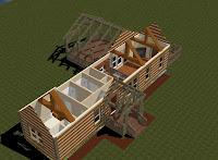 planos de estructura de casa rústica de montaña