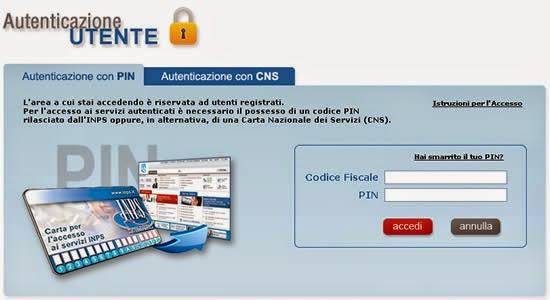 schermata di login area riservata