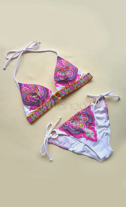 China Wholesale Clothes - Colorful Floral Print Nylon Side Tie Women's Sexy Bikini