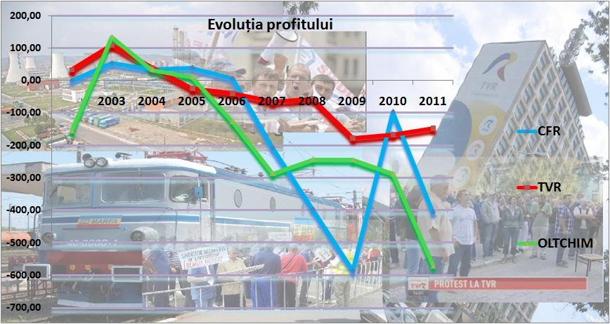 TVR,CFR Marfă,Oltchim - evoluția profitului în perioada 2003-2012