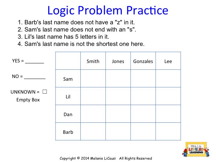 Mrs Ls Leveled Learning DIY Logic Puzzles for Math Class – Math Logic Worksheets