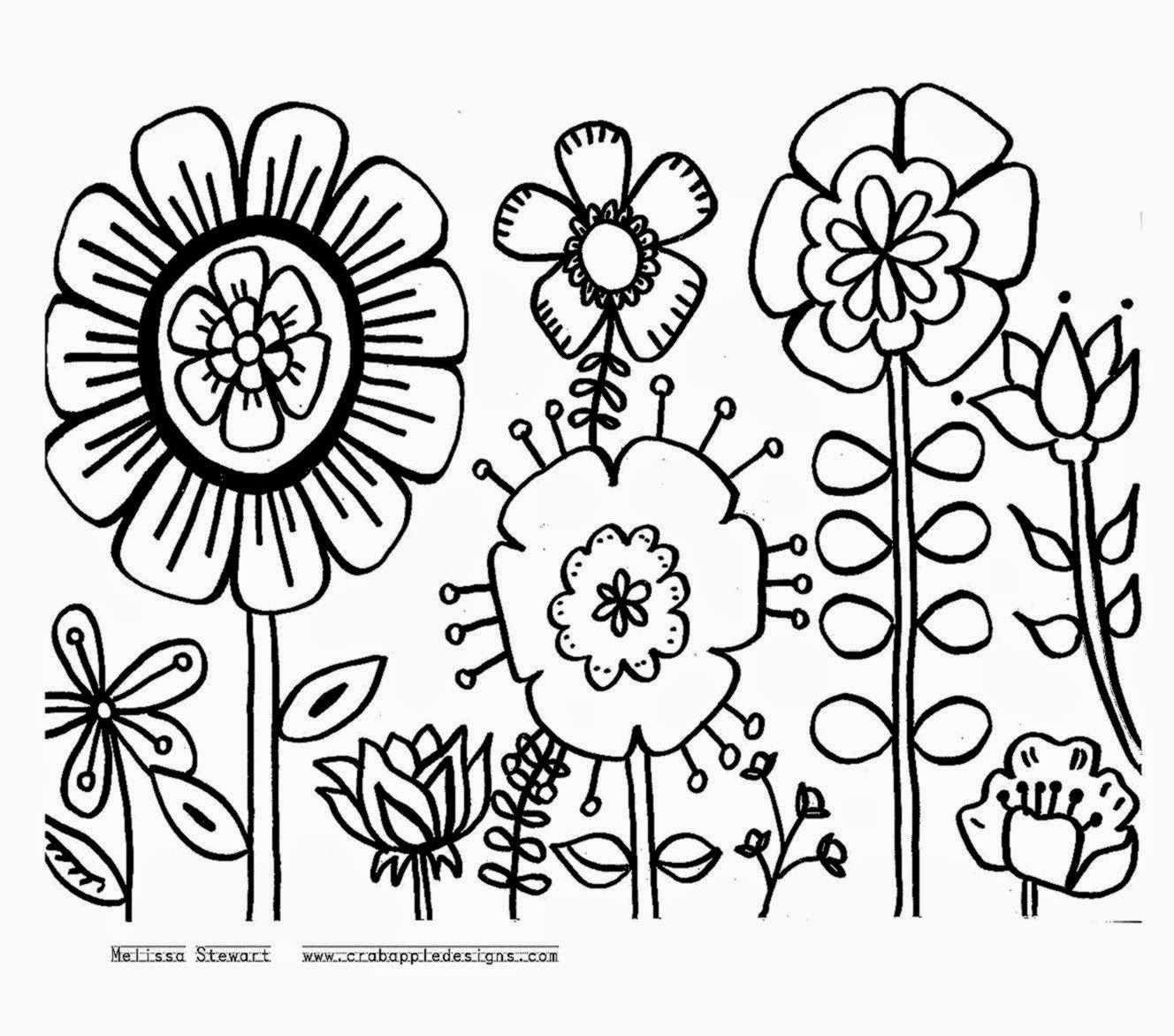 Large Flower Coloring Pages Pictures Flowers Free