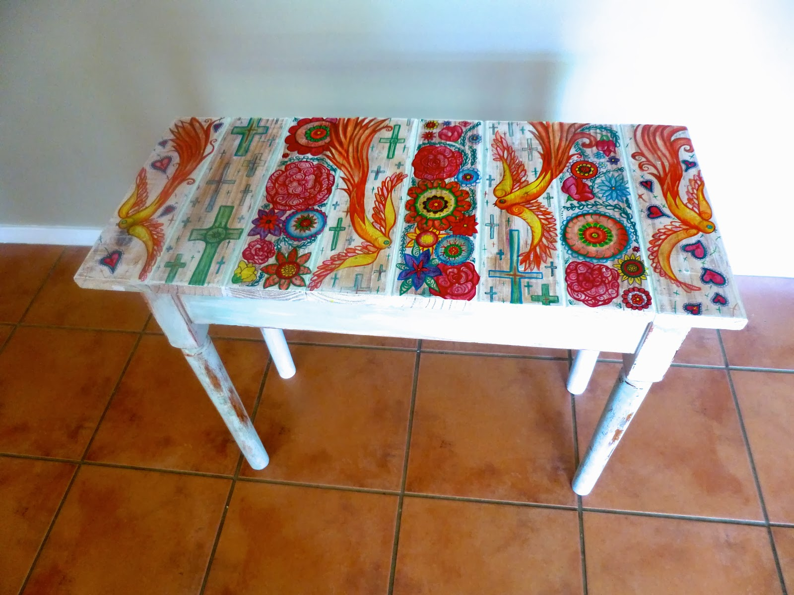 Mexican Colourful Panel Hand Painted Table By Melanie Dann