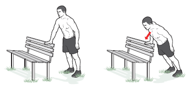 Single-arm incline pushup all fitness Stand facing the back of a bench and assume a pushup position with your feet shoulder-width apart and your right hand resting on the bench's back. (Your body should form a straight line from head to ankles.) Lower your body until your chest nearly touches the bench. Pause, and push yourself back up. Now repeat using your left arm. Next, do 2 reps with your right arm and 2 with your left. Keep adding reps until you can't do the same number on both sides. Too easy? Try it with your feet together