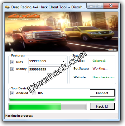 Drag Racing 4x4 Hack Cheat Tool Details