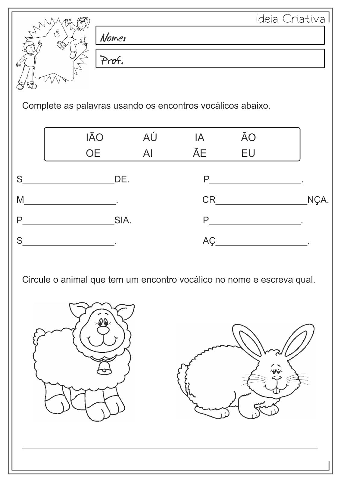Atividades Educativas Encontros Vocálicos Língua Portuguesa 3° ano Fundamental