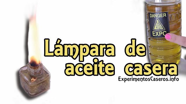 lámpara de aceite casera, experimentos caseros, experimentos para niños