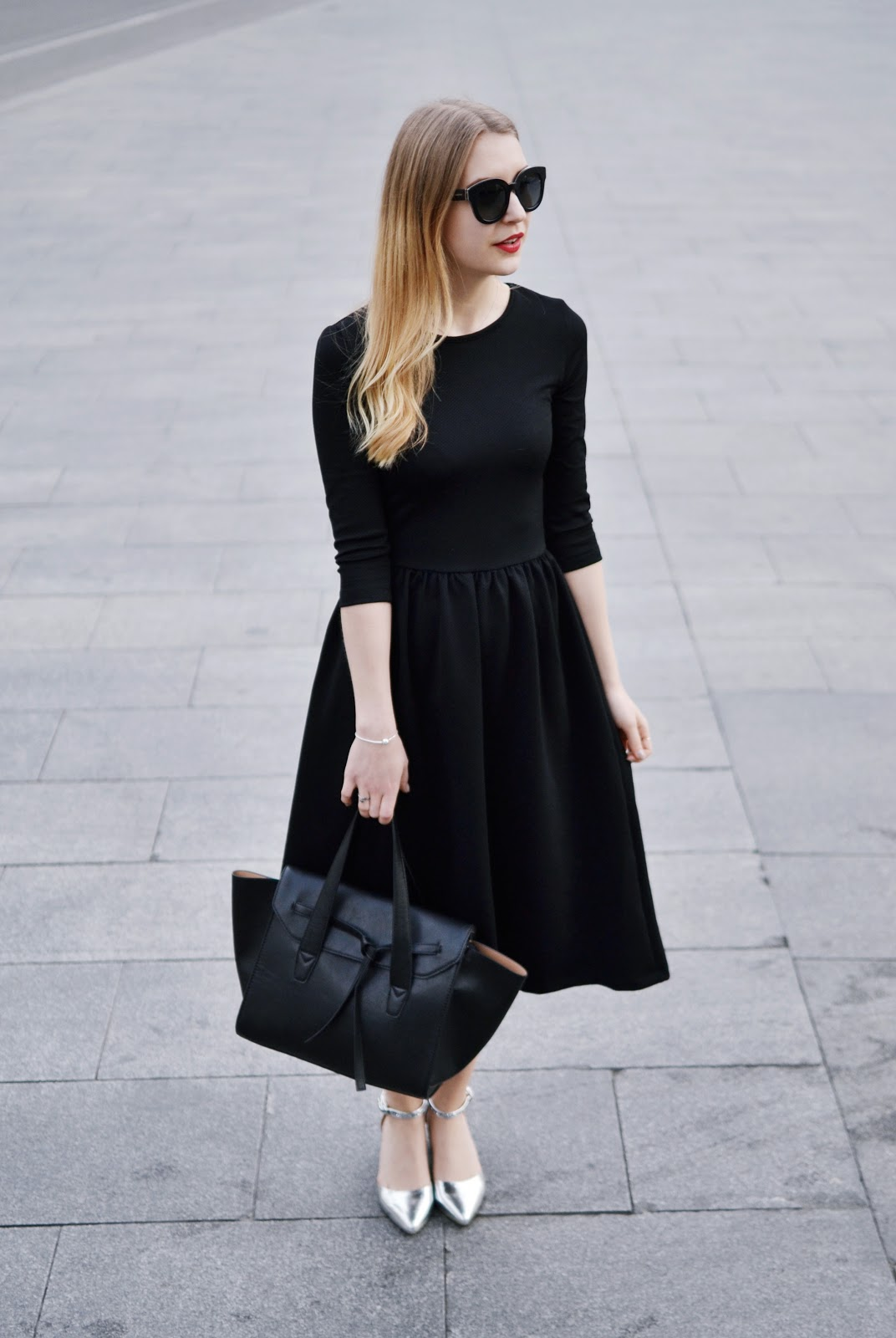 ASOS Midi skater dress texture black