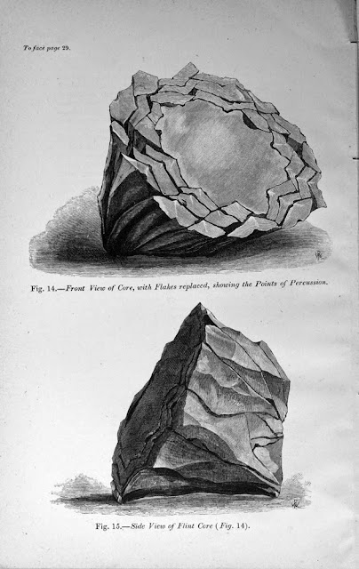 Illustration showing how a flint fractures to provide a series of flakes. Just one stage in the process of making gun-flints.