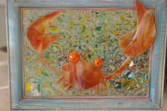 Pinch Me Ghost Crab Coastal Glass Art