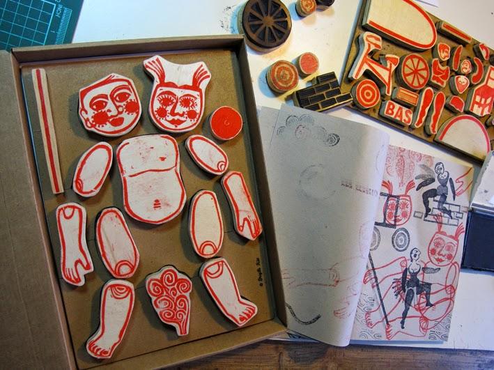 jeu, tampons d'artiste, Brigitte Rio, combinatoire