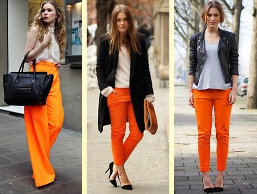moda tangerina calças