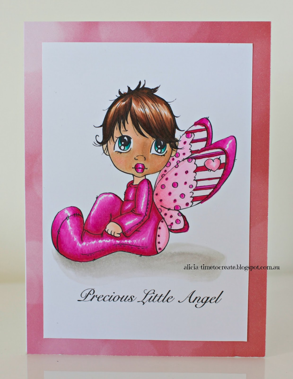 Copic Coloured Baby Girl Card