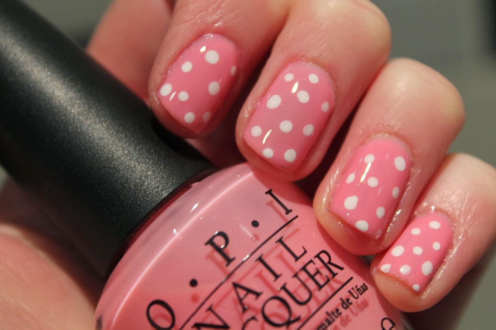 Pink polka dot OPI nail art - Valentines Day