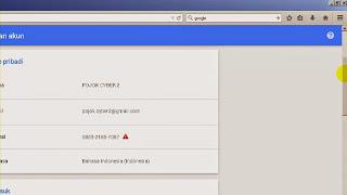 Jendela tampilan informasi detail akun google kita