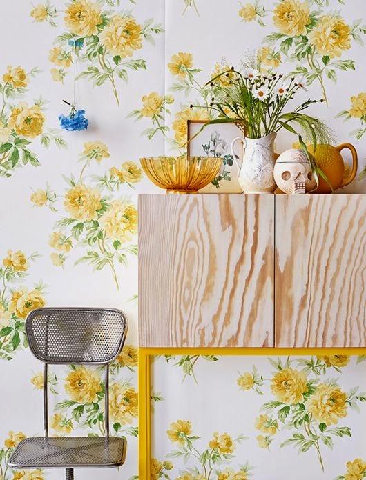pared de cocina empapelada flores estilo nordico