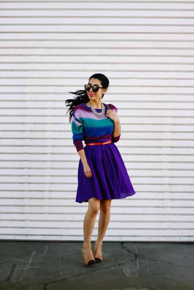 Spring sweater, color block, zara cap toe heels, cap toe pumps, chanel 2.55, karen walker super duper, forever21, statement necklace, maybelline vivid,