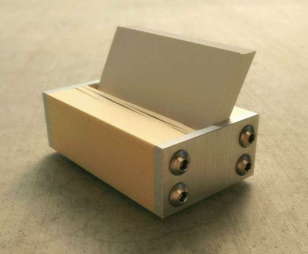 modern metal and wood business card holder