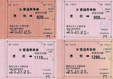 JR東海 常備軟券乗車券 恵那駅 金額式