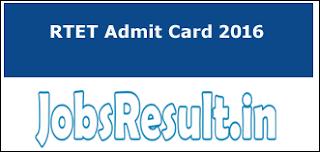 RTET Admit Card 2016