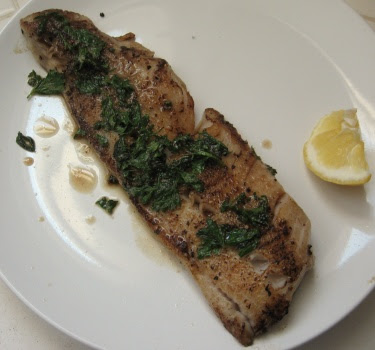 Seared fish with butter & parsley