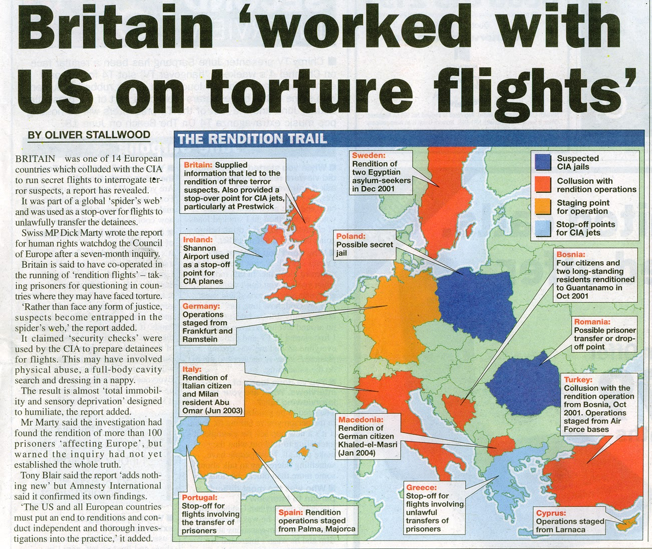 an article in a london newspaper exposing the european countries that colluded with the cia to use their airports as stop off points for planes used in