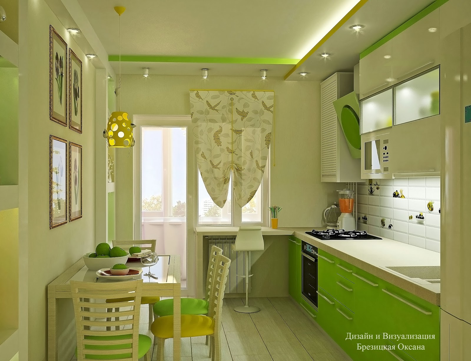 Кухня с салатовым дизайн фото