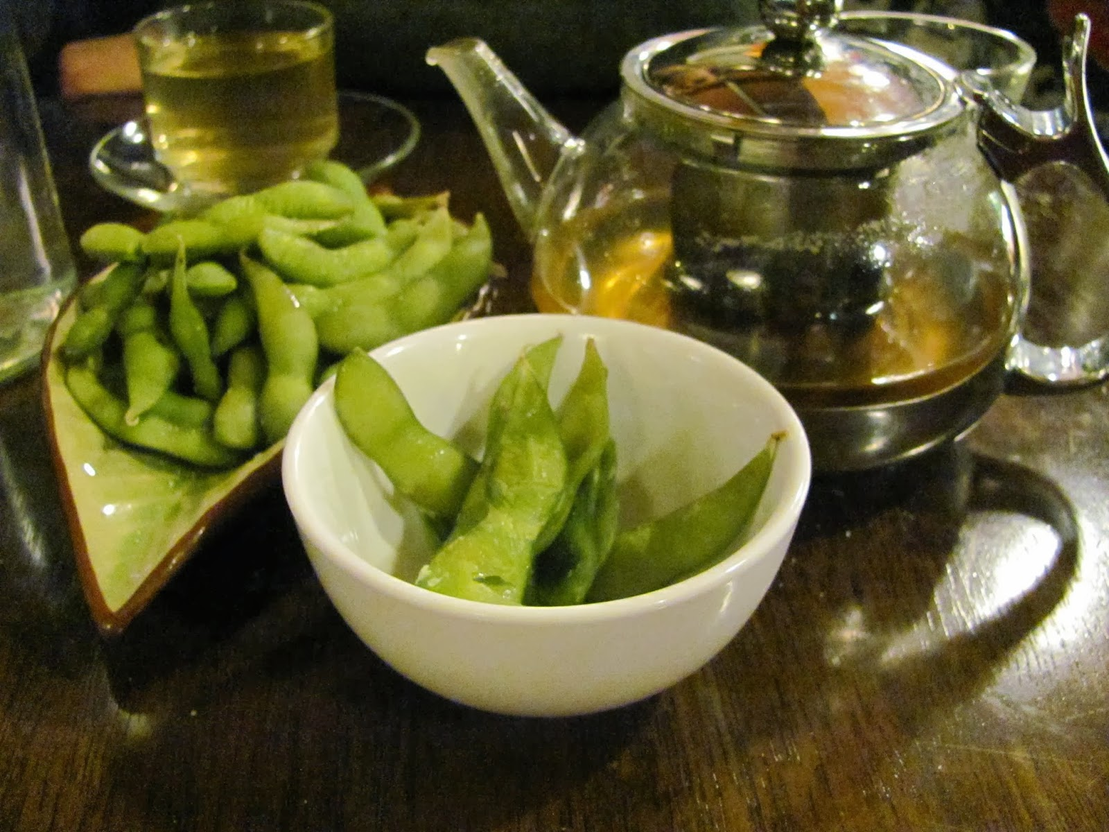 Edamame and Green Tea at J2 Grill and Sushi, Dublin, Ireland