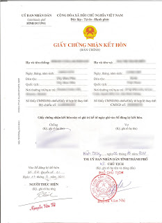 Vietnamese Marriage Certificate