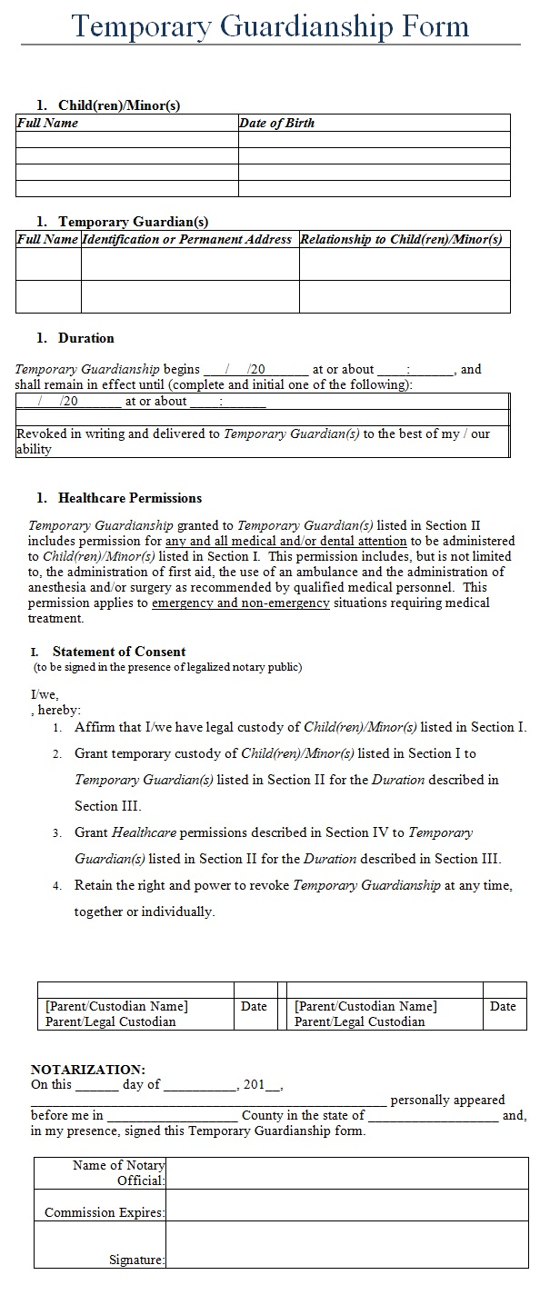 Similiar Emergency Guardianship Letter Template Keywords – Temporary Guardianship Forms