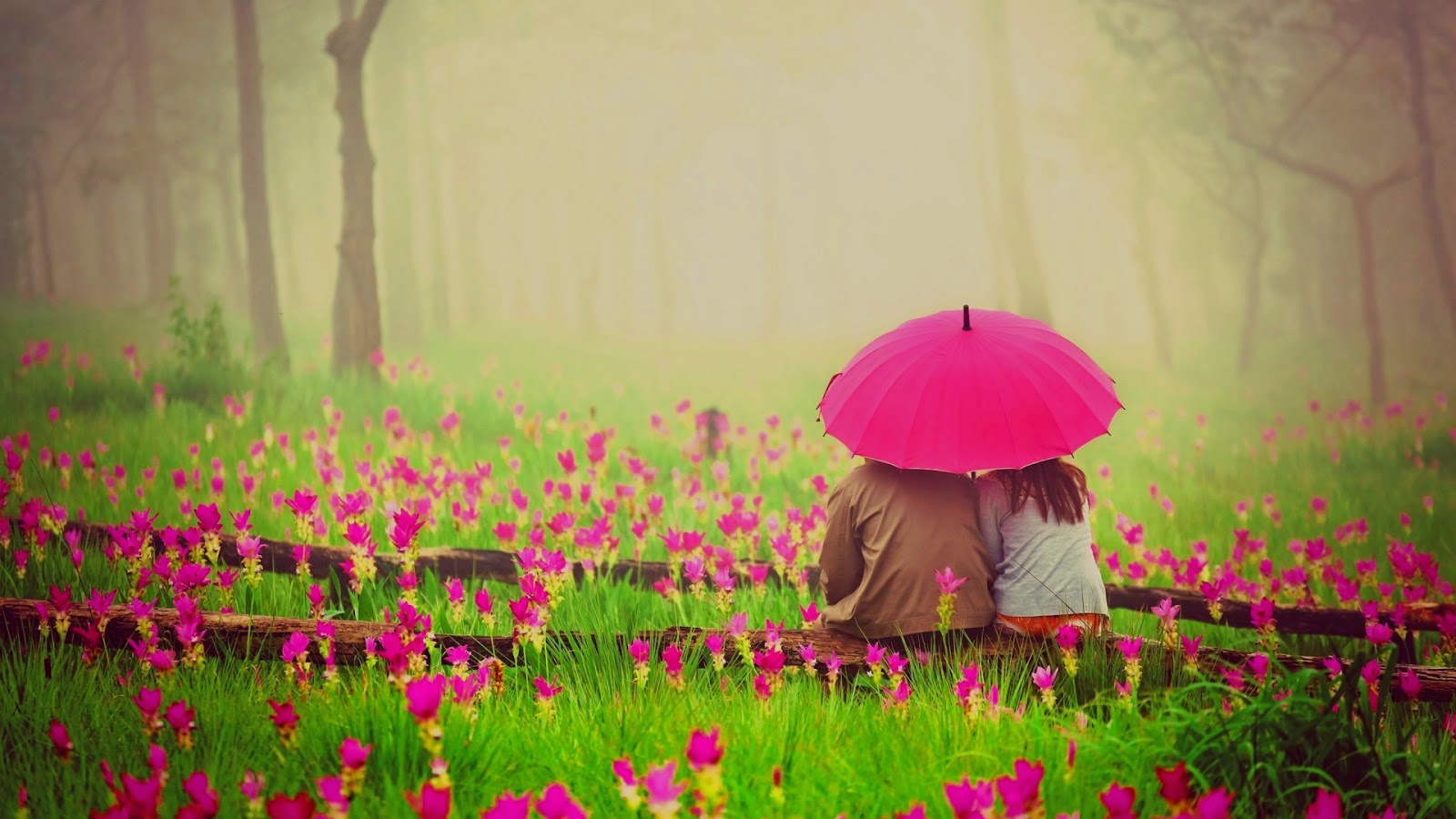 Romantic couple in garden under umbrella wallpaper