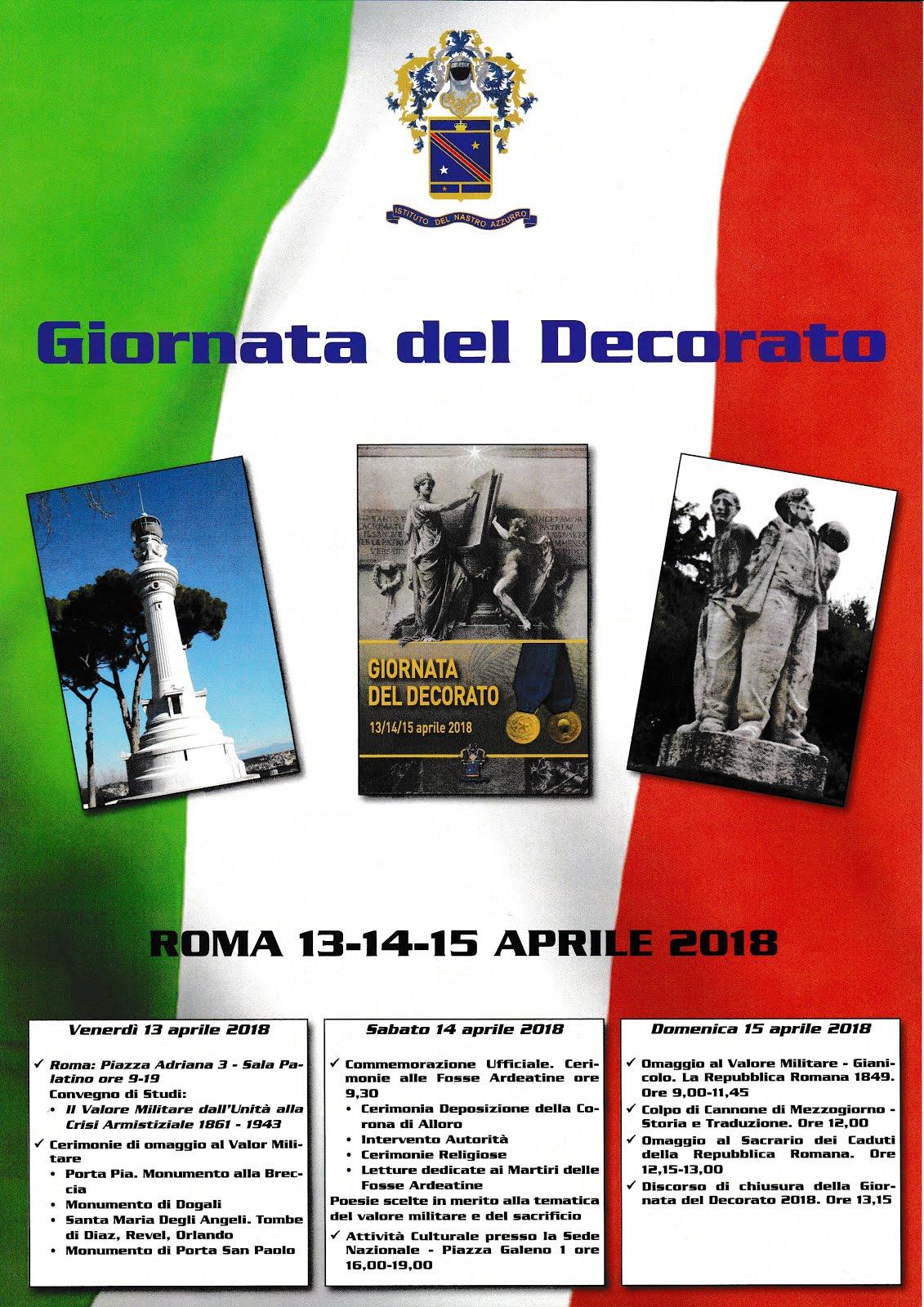 Giornata del Decorato  Il Valore Militare 15 aprile 2018