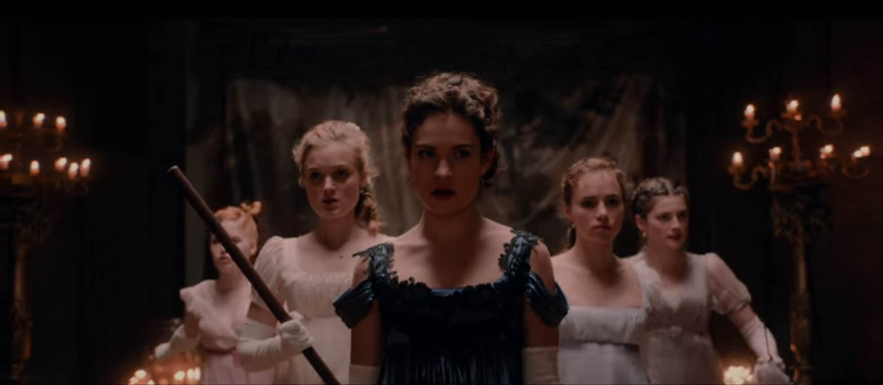 Pride and Prejudice and Zombies 2016 horror comedy romantic film featuring the Elizabeth Bennet and her four sisters kicking zombie ass in a 19th Centure Zombie Infested England