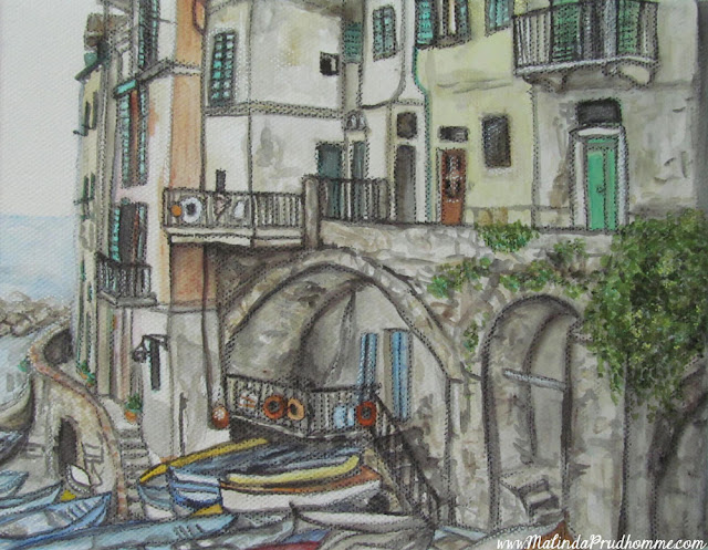 travel artist, mixed media artist, watercolour paintings, travel art, charcoal artist, mixed media art, original paintings, cinque terre, riomaggoire, italy