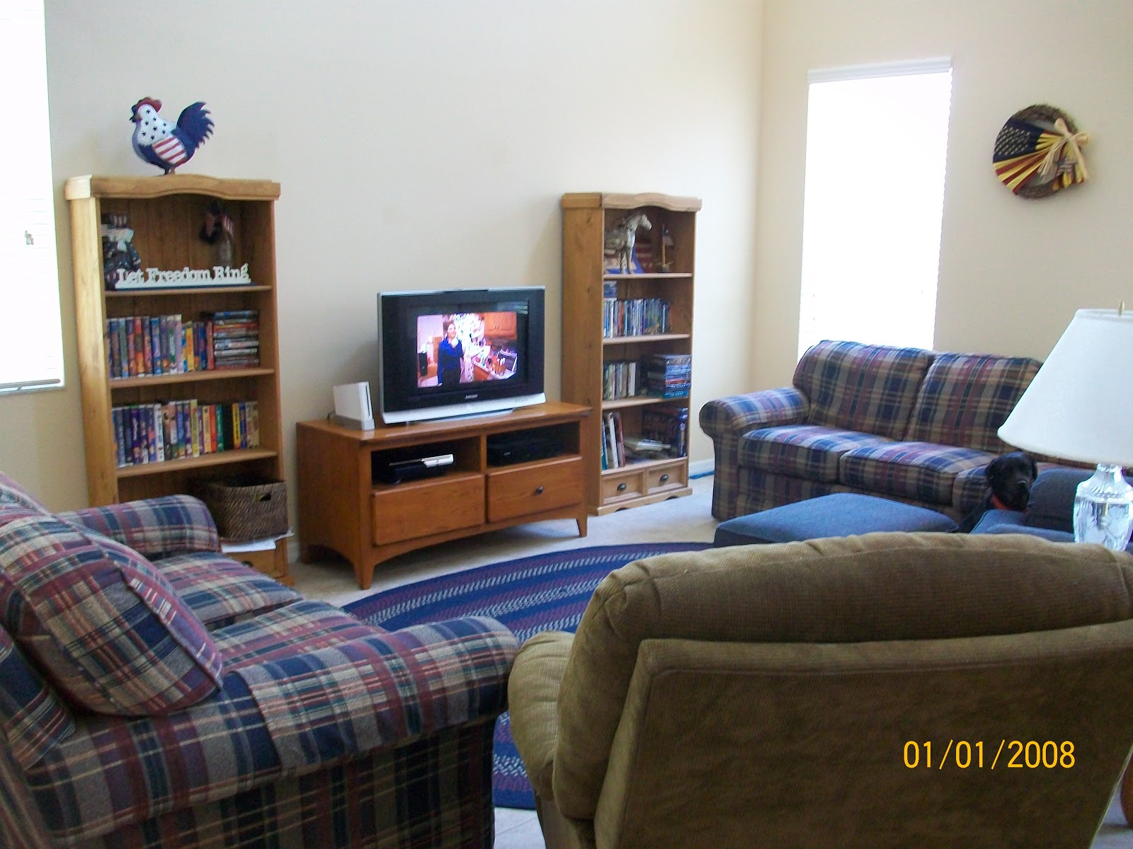 At home with heather americana living room setup today for Living room setup