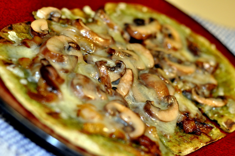 Grilled Spinach Flatbread with Caramelized Onions, Mushrooms, and ...