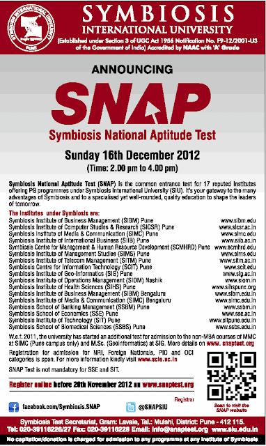 SNAP 2012 Exam Notification - Test Date