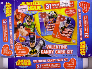 Front of the Justice League Valentine Candy Card Kit box