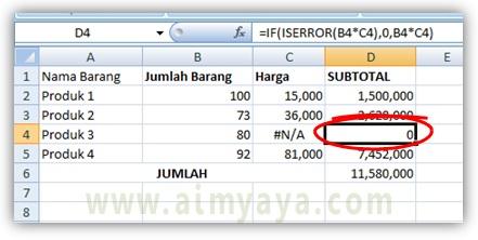 Gambar: contoh antisipasi untuk perhitungan dengan hasil error #N/A di Microsoft Excel