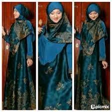 Baju pesta Muslim batik kombinasi